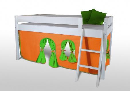 Vorhangset neues Design ORANGE-GRÜN für Hochbet Spielbett Etagenbett