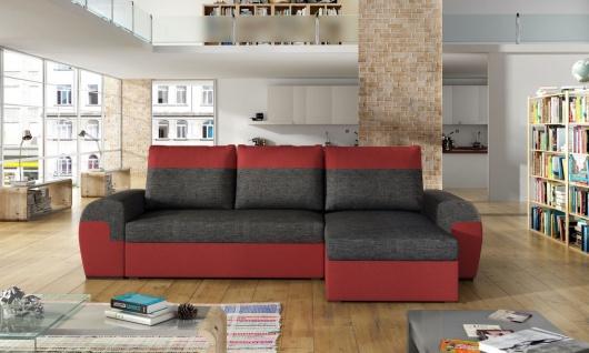 Ecksofa Sofa PAROS mit Schlaffunktion Rot-Dunkelgrau Ottomane Rechts