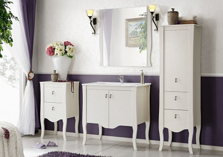 Badmöbel Set 4-tlg ELIZA Massivholz Weiss inkl.Waschtisch 60 cm