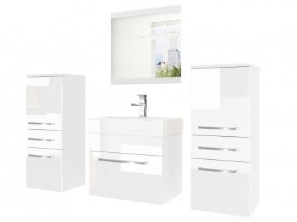Badmöbel Set 4-tlg MARIO Set.3 Weiss HGL inkl.Waschtisch 50 cm