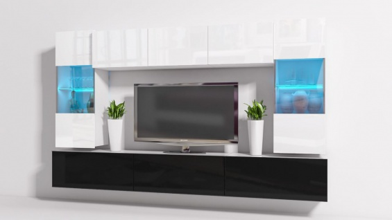 Mediawand Wohnwand 8 tlg - Konzept 27 - Schwarz/ Weiss Hochglanz + LED
