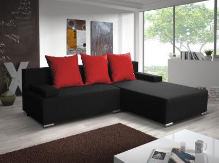 Ecksofa Sofa LUCY mit Schlaffunktion Schwarz / Rot Ottomane Rechts