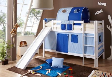 Vorhang Für Etagenbett : Etagenbett oli mit rutsche buche weiss inkl vorhang blau