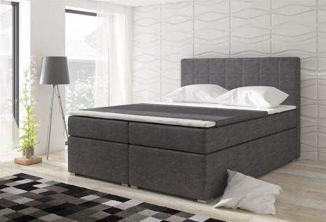 Boxspringbett Schlafzimmerbett LOREN Webstoff Grau 160x200cm