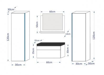 Badmöbel Set 5-Tlg Weiss HGL SKYLINE inkl.60 cm Waschtisch und LED - Vorschau 2