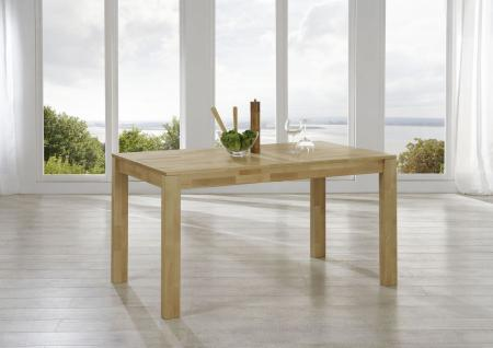 Esstisch ETHAN Tisch 140x80 Eiche massiv / Fuß 80x80 mm