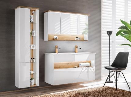 Badmöbel Set 3-tlg Badezimmerset VARESE Weiss inkl.Waschtisch 120 cm