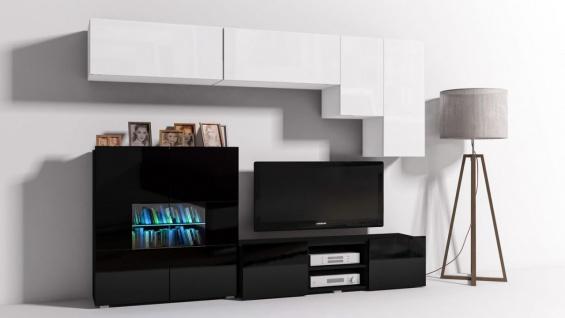 Mediawand Wohnwand 6 tlg - Konzept 21 - Schwarz/ Weiss Hochglanz + LED