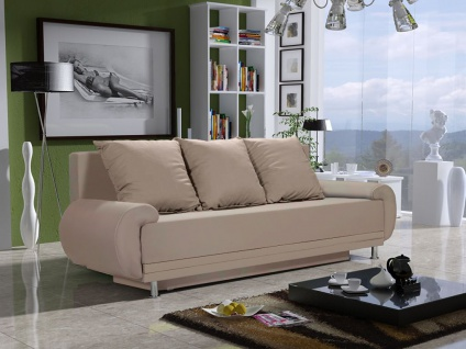Sofa Designersofa MIKA 3-Sitzer mit Schlaffunktion Beige