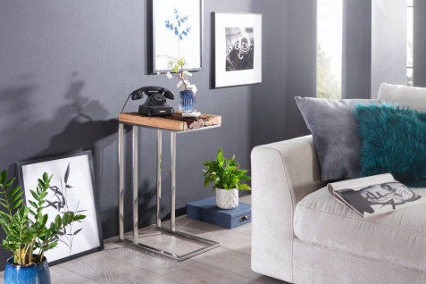 Beistelltisch Tisch NAPO 31x46x72 cm Materialmix Massivholz & Metall