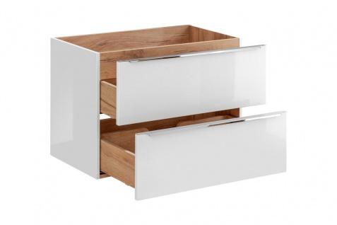 Badmöbel Set 6-tlg Badezimmerset PERUGIA Weiss Hochglanz Set.3 - Vorschau 5