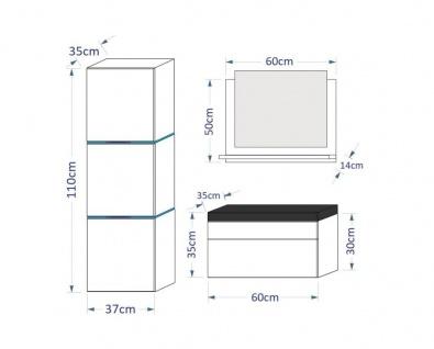 Badmöbel Set 4-Tlg Schwarz HGL LOBOS XS inkl.60 cm Waschtisch und LED - Vorschau 3