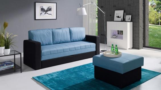 Sofa Schlafsofa LABRI 3-Sitzer inkl.Hocker Schwarz/ Hellblau