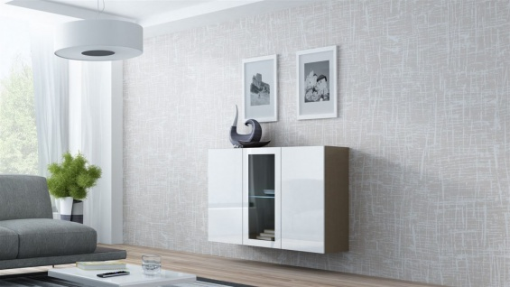 "Sideboard Hängesideboard "" LUGO"" 120x38x90 cm Latte/ Weiss HGL mit LED"