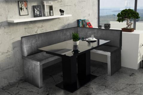Eckbankgruppe 196x142 cm ROBIN XL L Vin..Schwarz/ Tisch DANTE Schwarz