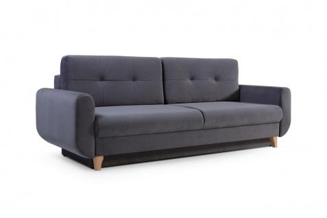 Sofa 3-Sitzer Schlafsofa ARLET Stoff Dunkelgrau
