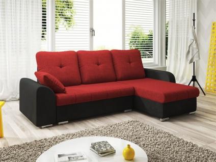Ecksofa Sofa DEKOS mit Schlaffunktion Schwarz / Rot Ottomane Rechts