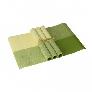 Tisch 4er Set Platzdeckchen 30 x 45 cm abwaschbar Grün / Gelb