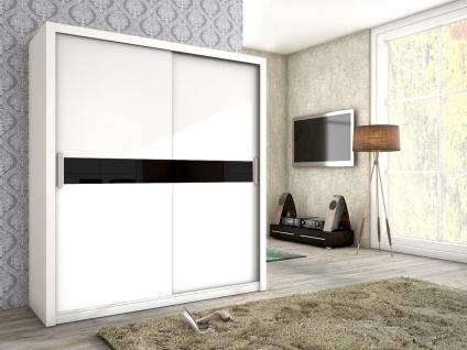 Schiebetürenschrank Schrank BRIT Weiss matt + Schwarzglas 180x200 cm