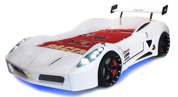 Autobett Kinderbett - Formel GT / Standart - Weiss inkl.Beleuchtung