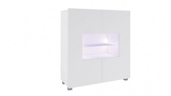 Highboard Schrank Vitrine LABRI 100x105x35cm Weiss Hochglanz inkl. LED