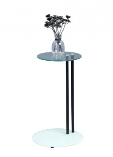 Beistelltisch Tisch FRANK 58.5x35 cm Glas weiss lackiert