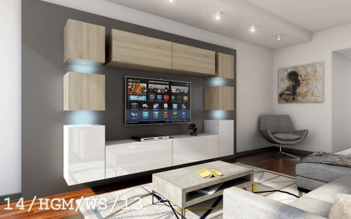 Mediawand Wohnwand 10 tlg - Konzept 40 - Weiss HGL / Sonoma matt