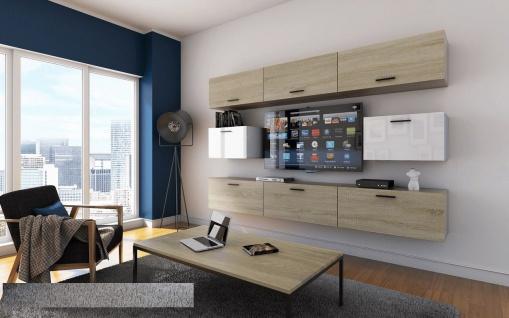 Mediawand Wohnwand 8 tlg - Bedox 1 - Sonoma matt- Weiss HGL Nr.2
