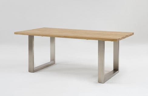 Esstisch Tisch KENO Kernbuche massiv Lackiert, 140x90cm Edelstahl Kufen