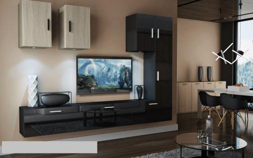 Mediawand Wohnwand 8 tlg - Bedox 4 - Schwarz HGL- Sonoma matt Nr.1+LED