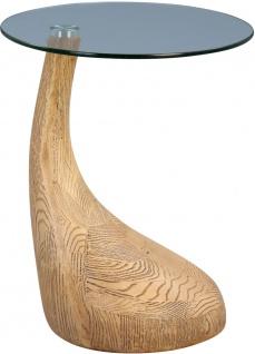 Beistelltisch Tisch ARIANA 55x45 cm Glas klar Magnesia Holzoptik