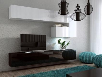 Mediawand Wohnwand 8 tlg - Konzept 15 - Weiss / Schwarz Hochglanz