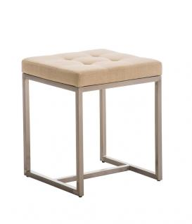 Sitzhocker - BRIT - Schminkhocker Hocker Sessel Stoff Creme 40x40 cm