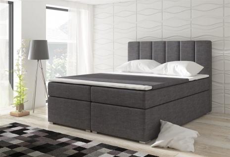 Boxspringbett Schlafzimmerbett SOPHIA Webstoff Grau 100x200cm