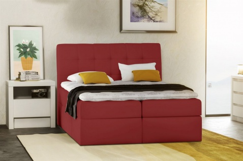 Boxspringbett Schlafzimmerbett TURIN Kunstleder Rot 120x200 cm