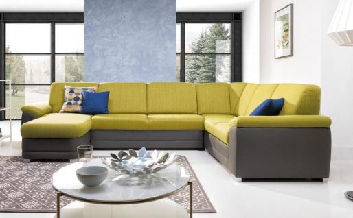 Couchgarnitur VINZENT mit Schlaffunktion Ottomane Links Grau/ Gelb