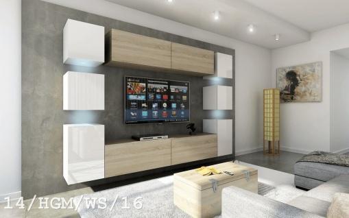 Mediawand Wohnwand 10 tlg - Konzept 40 Nr.3 - Sonoma matt / Weiss HGL