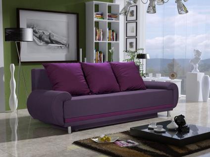 Sofa Designersofa MIKA 3-Sitzer mit Schlaffunktion Violett