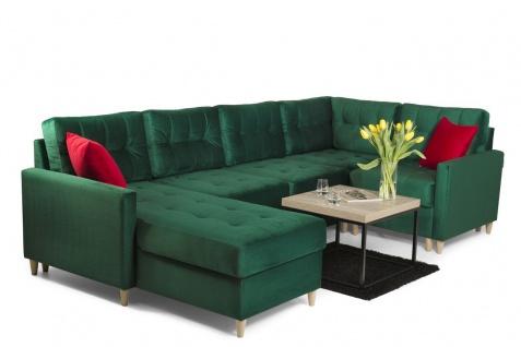 Couchgarnitur mit Schlaffunktion MOLDE Stoff (FUEGO) Grün Otto. Links