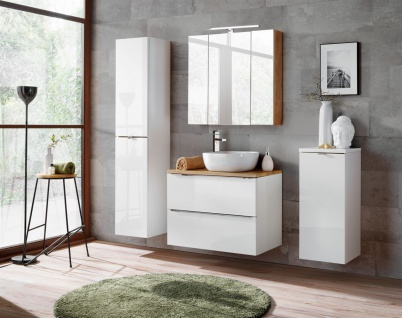 Badmöbel Set 5-tlg Badezimmerset PERUGIA Weiss HGL inkl.Waschbecken