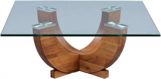 Couchtisch Beistelltisch ARMIN 85x85 cm Wildeiche massiv / Glas - Vorschau 2