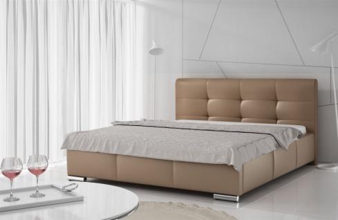 Polsterbett Bett Doppelbett TAYLOR Kunstleder Cappuccino 140x200cm