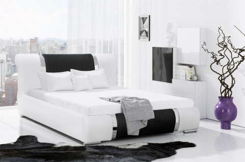 Polsterbett Bett Doppelbett ZENO Kunstleder Weiss- Schwarz 180x200cm