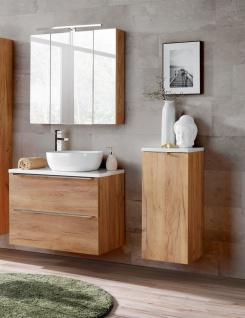 Badmöbel Set 5-tlg Badezimmerset PERUGIA Eiche inkl.Waschbecken 80cm