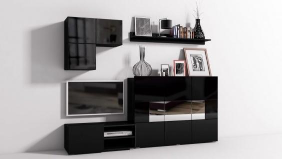 Mediawand Wohnwand 6 tlg - Konzept 30 - Schwarz Hochglanz +LED