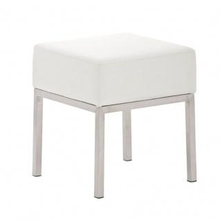 Sitzhocker - LONI 2 - Hocker Sessel Kunstleder Weiss 40x40 cm