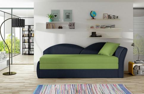 Sofa Schlafsofa inklusive Bettkasten ALINA / R- Dunkelblau / Limette