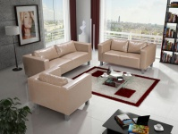 Sofa Set MAILAND 3-2-1 Sofagarnitur in Kunstleder Cappuccino