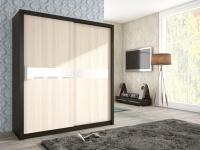 Schiebetürenschrank Schrank BRIT Wenge / Esche + Weissglas 180x200cm