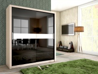 Schiebetürenschrank Schrank BRIT Sonoma /Schwarz HGL + Glas 180x200 cm